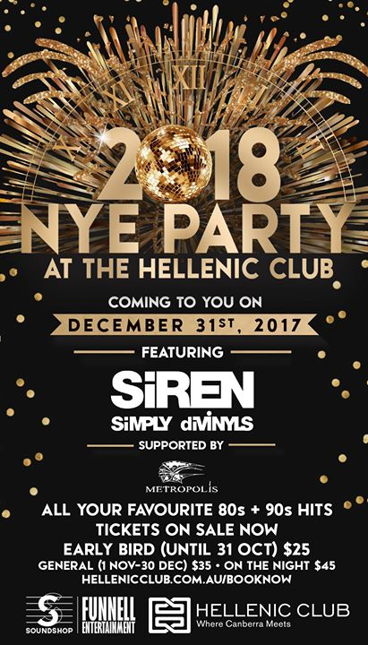 New Year's Eve at the Hellenic Club - Siren Simply Divinyls