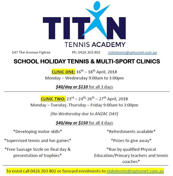 School Holiday Tennis & Multi-Sport Clinics